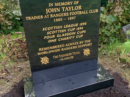 UPDATE! The Restoration of Rangers Graves Project and John Taylor Rangers FC 1885-1897.