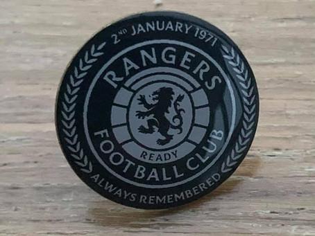 £5 raffle for an Ibrox Disaster 50th Anniversary Memorial Badge.