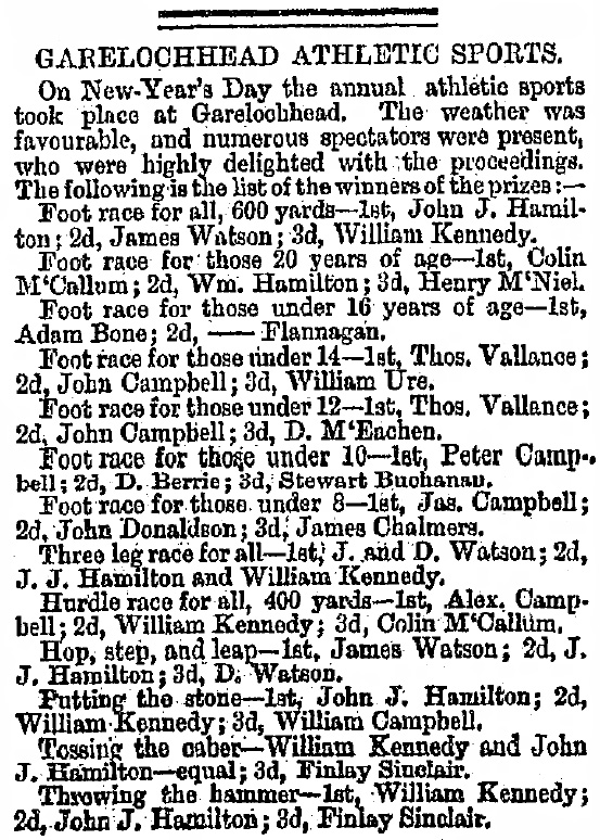 The Herald Wednesday, January 8, 1868 Garelochhead sports