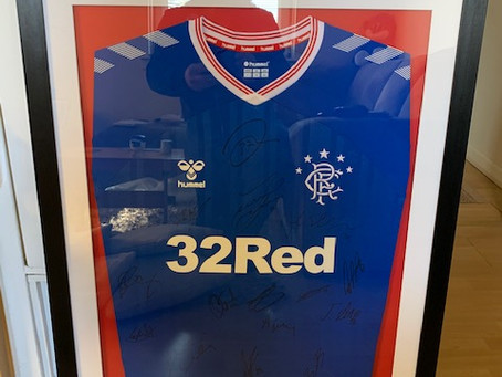 Raffle For A Signed  Framed Jersey In  Aid Of The Restoration Of Rangers Graves Project.