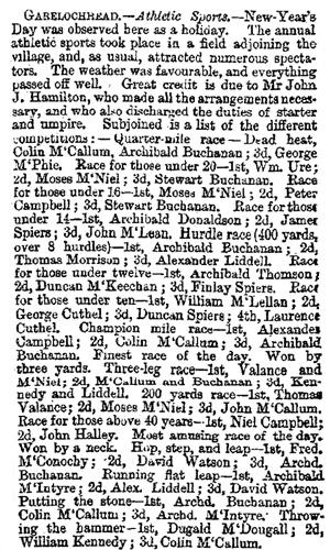 The Herald Saturday, January 4, 1873 Garelochead Sports