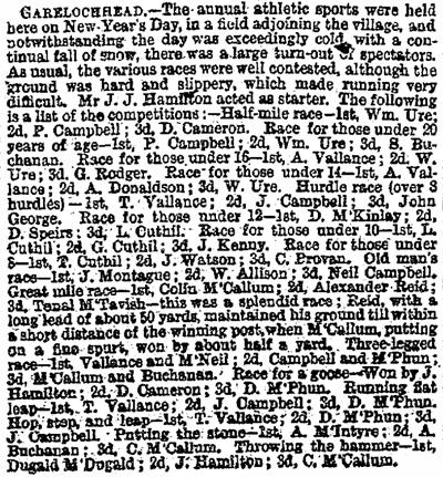 The Herald Monday, January 4, 1875 Garelochhead sports 1875