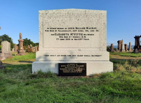 Donation! The Restoration of Rangers Graves Project and the Dunoon Rangers Supporters Club.