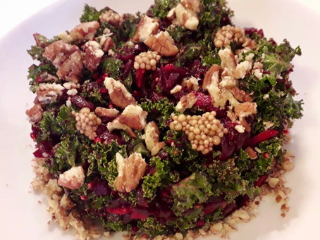 Kale and Beetroot Salad with Chestnuts, Pecans, and Pickled Mustard Seeds