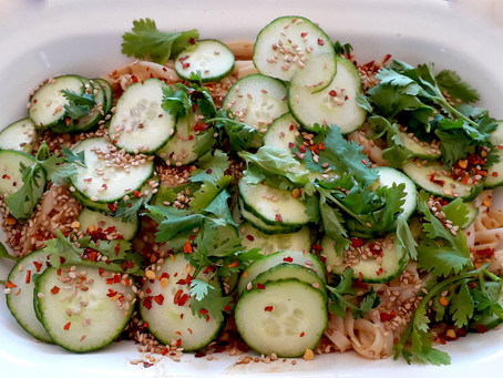Peanut Butter Rice Noodles with Cucumber and Sesame Seeds