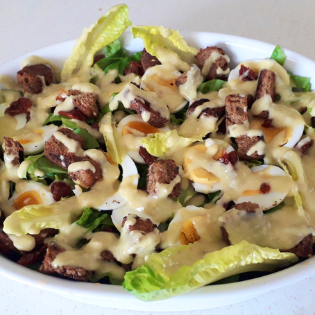 Lettuce Egg Caesar Salad with Croutons and Sundried Tomatoes