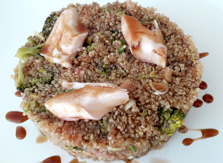 Quinoa Teriyaki with Broccoli and Smoked Trout