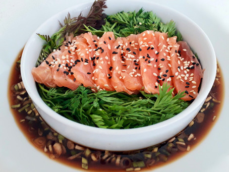 Salmon Gravlax with a Soy and Yuzu dipping sauce