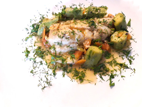Steamed Cod in a garlicky broth with zucchinis