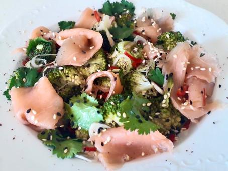 Broccoli Salad with Smoked Salmon and Soy Sauce