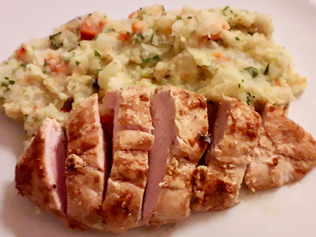 Yoghurt Marinated Chicken Breast with Tandoori Spice and a Vegetable Mash