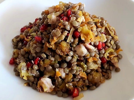 Lentils with a warm Leek, Carrot, Celery and smoked Eel salsa, and Pomegranate seeds.