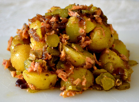 Potato Salad with Caramelized Onion, Gherkins and Smoked Tuna