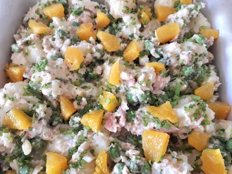 Potato Salad with Raw Peas, Orange, Chives and a Smoked Trout Dressing