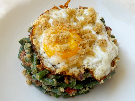 Sunny side-up Egg with String Beans and Almond Pesto
