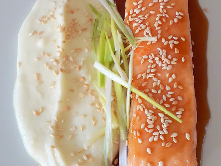 Baked Salmon with Cauliflower Puree and Homemade Teriyaki Sauce