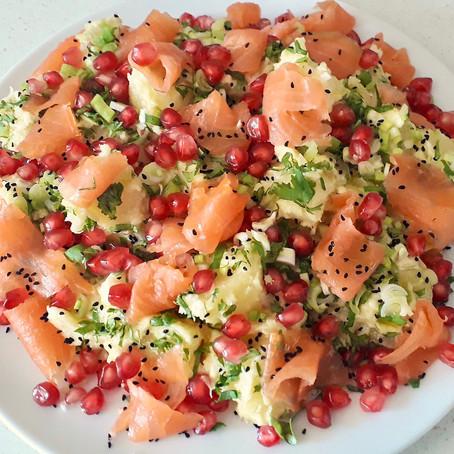 Potato Salad with Smoked Salmon and Pomegranate Seeds