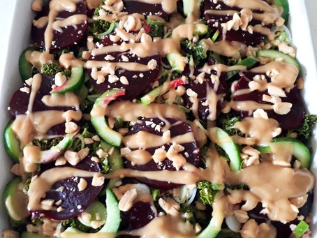 Peanut Butter Thai Dressing (on a Kale, Beetroot and Cucumber Salad)