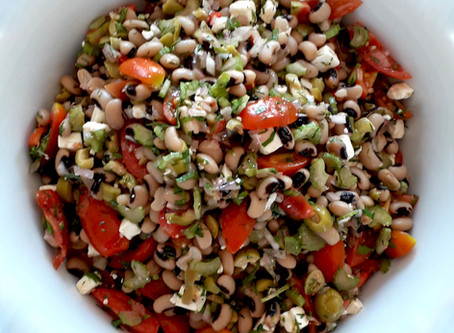 Black Eyed Peas with Cherry Tomatoes, Celery, green Olives, Feta and Parsley