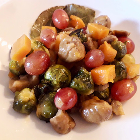 Sweet and Sour Brussel Sprouts with Chestnuts, Butternut Squash and Grapes