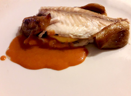 Baked Dorado with Caramelized Fennel and Red Pepper Sauce
