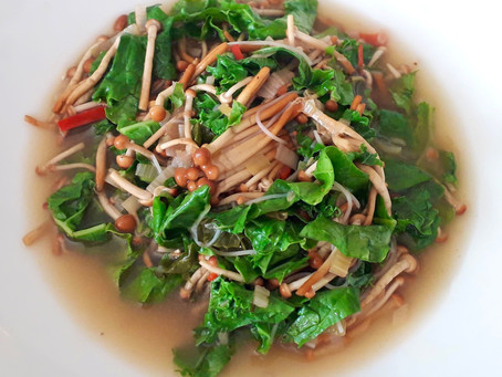 Pho with Vermicelli Noodles, Kale and Enoki Mushrooms