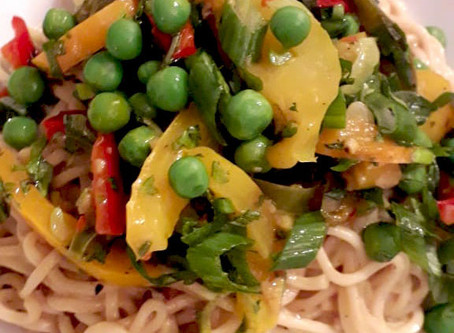 Spring Egg Noodles with Peppers, Peas, and a Tahini Sauce