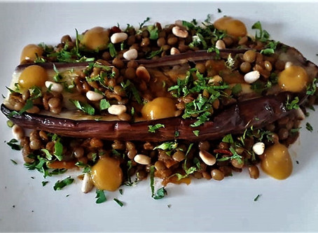 Roasted Eggplant with Lentil Salsa and Apricot Sauce