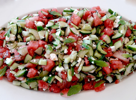 Watermelon and Cucumber mingle with Feta and Mint