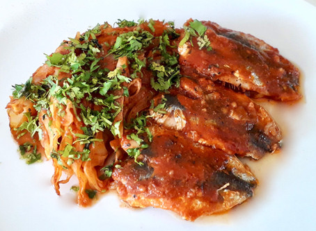 Roasted Cabbage and Sardines in a fragrant Tomato Sauce