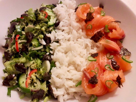 Rice Bowl with Salmon Gravlax and a Cucumber and Broccoli Mingle