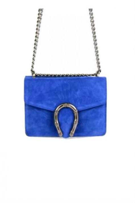 Tas leder blauw