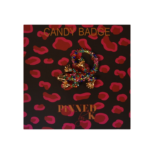Badge - Iguana gold/multi color