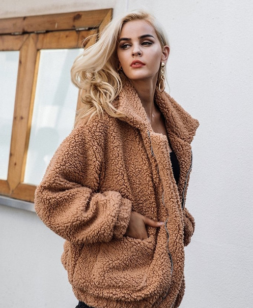 Bruine Teddy Jas.Teddy Coat