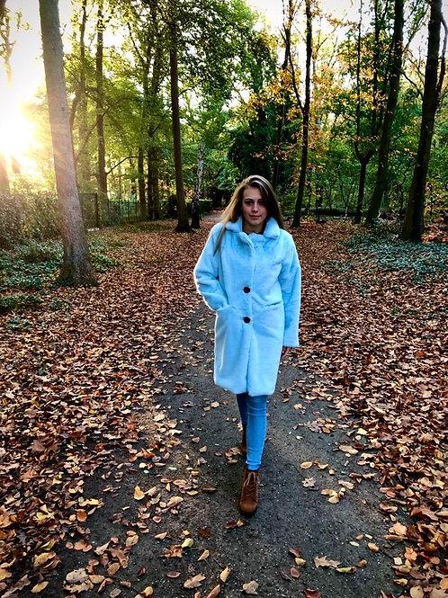 Faux fur coat Lucca - ijsblauw