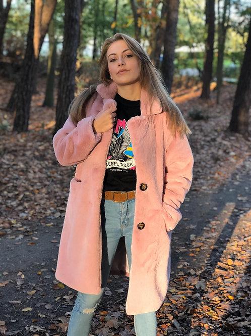 Faux fur coat Lucca - roze
