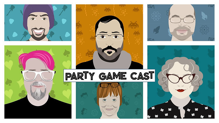 This is a picture of the Party Game Cast if they were cartoons.