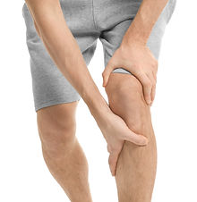 Young man suffering from knee pain on wh