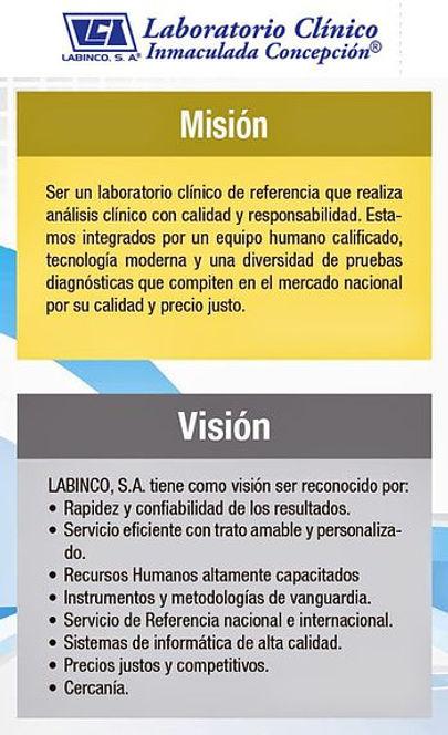 Misión, visión del Laboraorio Inmaculada