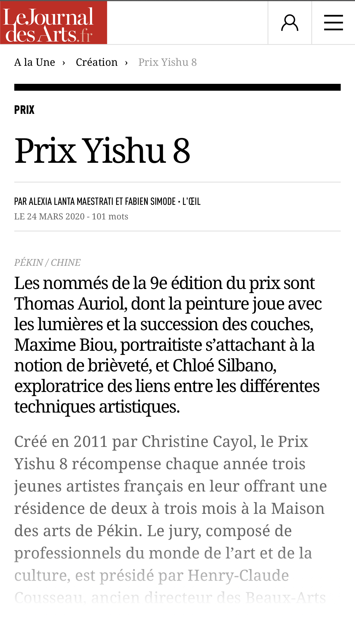 Le Journal des Arts : Prix Yishu 8
