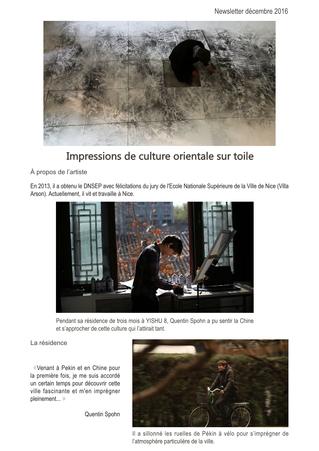"""""""Impressions de culture orientale sur toile"""", exposition de Quentin Spohn, Lauréat 2016 du"""