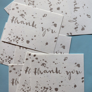 Thank you cards, screenprinted
