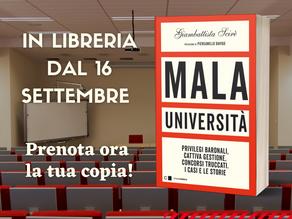 """""""Mala Università"""" di Giambattista Scirè (Chiarelettere) dal 16 settembre nelle librerie"""