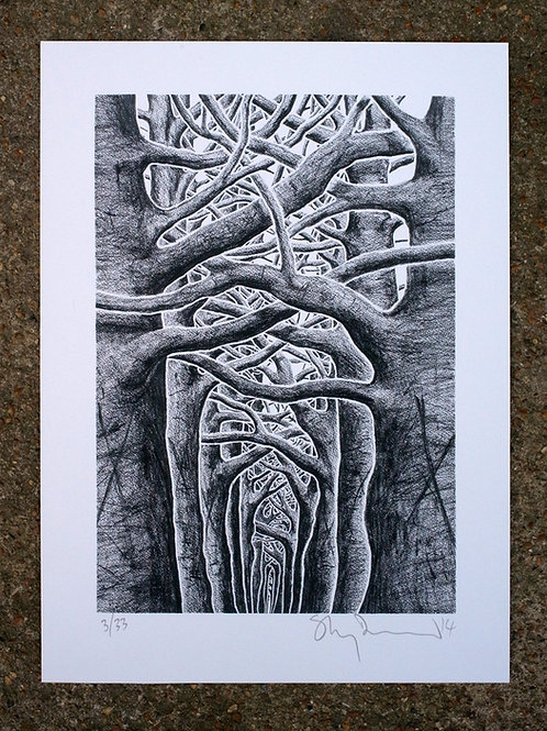 Sanguine, a gyclee print part of a set by Stanley Donwood, a fine artist known for his Radiohead cover design.