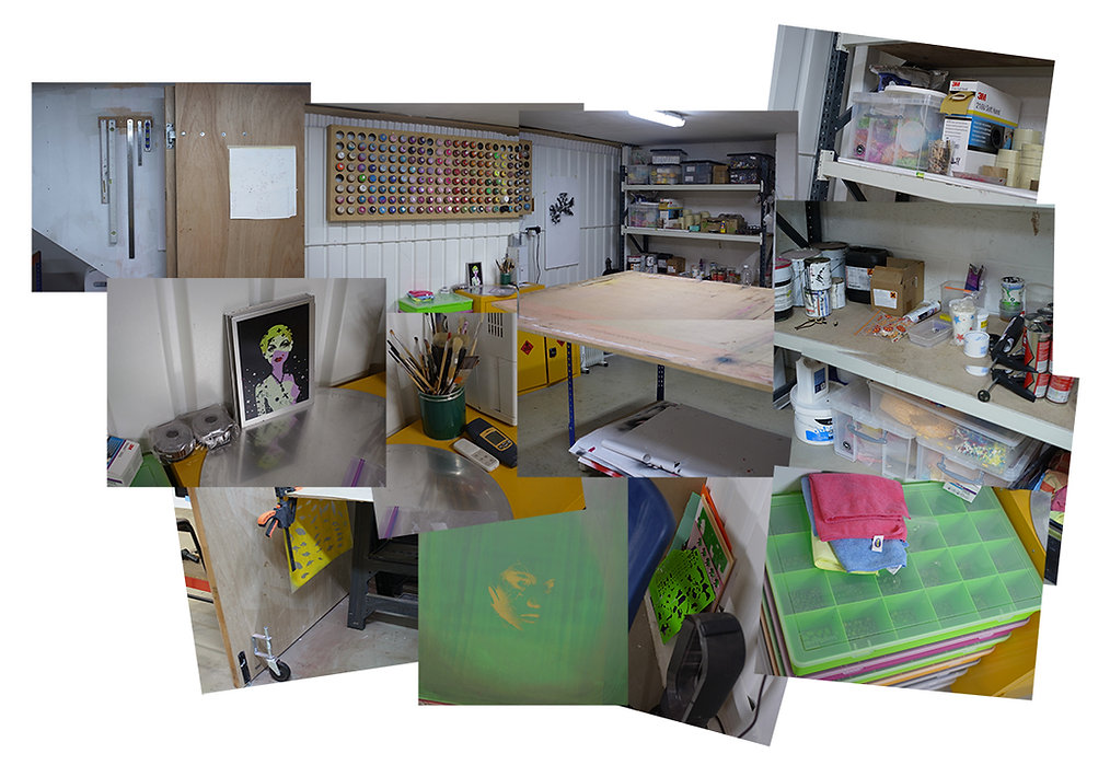 Stitch-up photo composition of British artist Miss Bugs' studio.