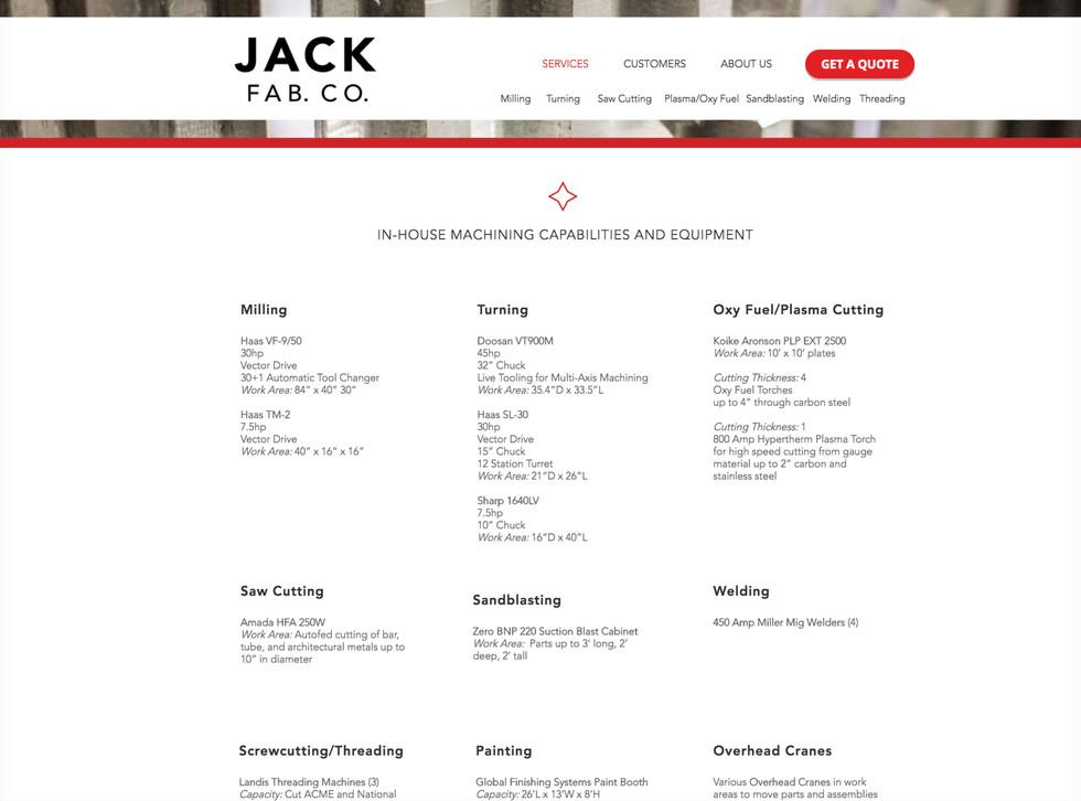 Jack Fab Co Website Design