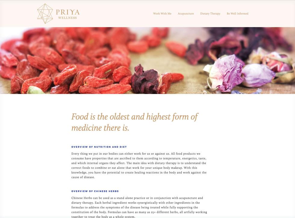 Priya Wellness Website Design