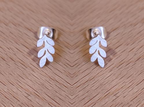 Large bay leaf stud earrings