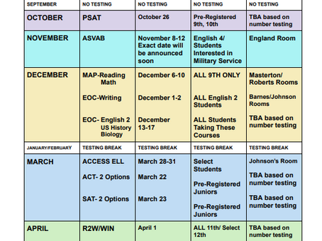 LCA Testing Schedule 2021-2022   Subject to Change