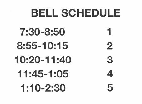 Bell Schedule Fall 2020
